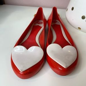 Melissa large heart jelly flats red and white